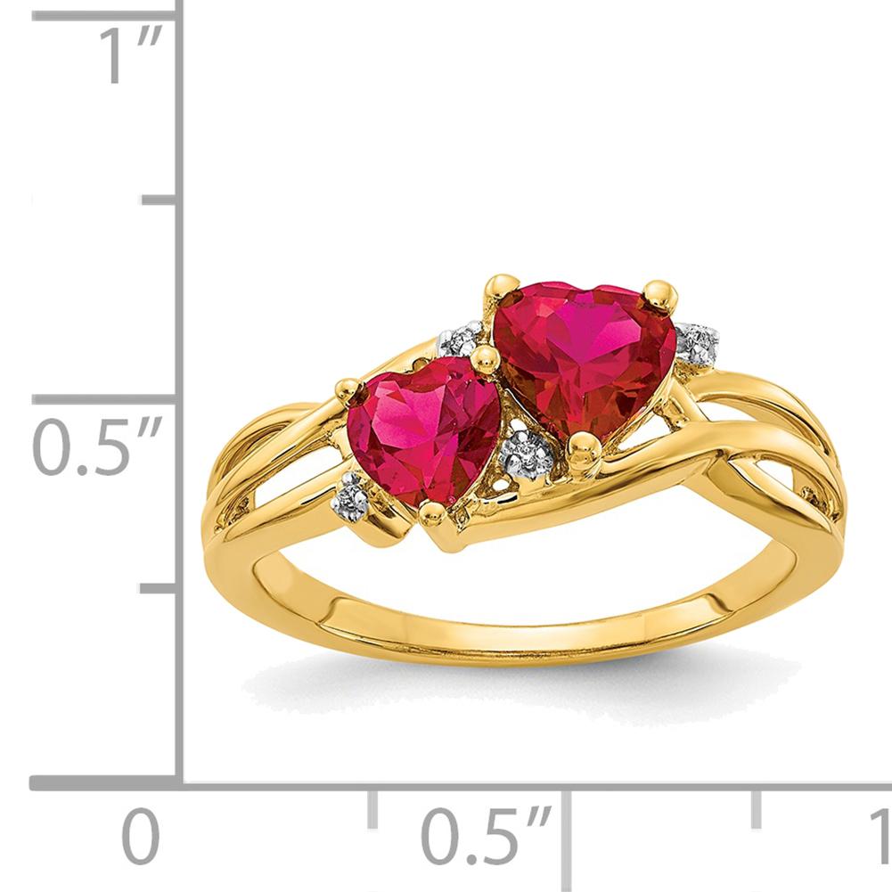 Lex /& Lu 14k Yellow Gold Diamond Triple Heart Ring Size 7