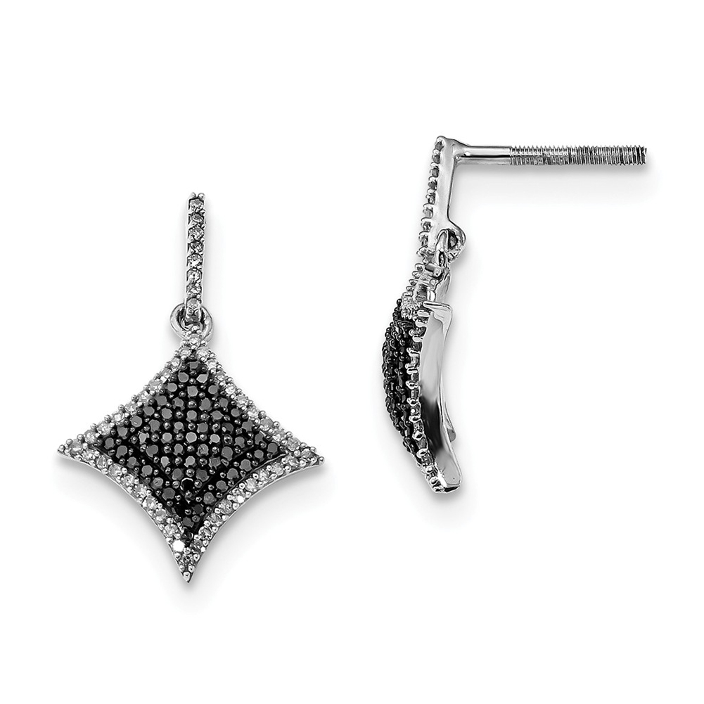d4641c344 Details about Sterling Silver Black and White Diamond Dangle Post Earrings  QE10861