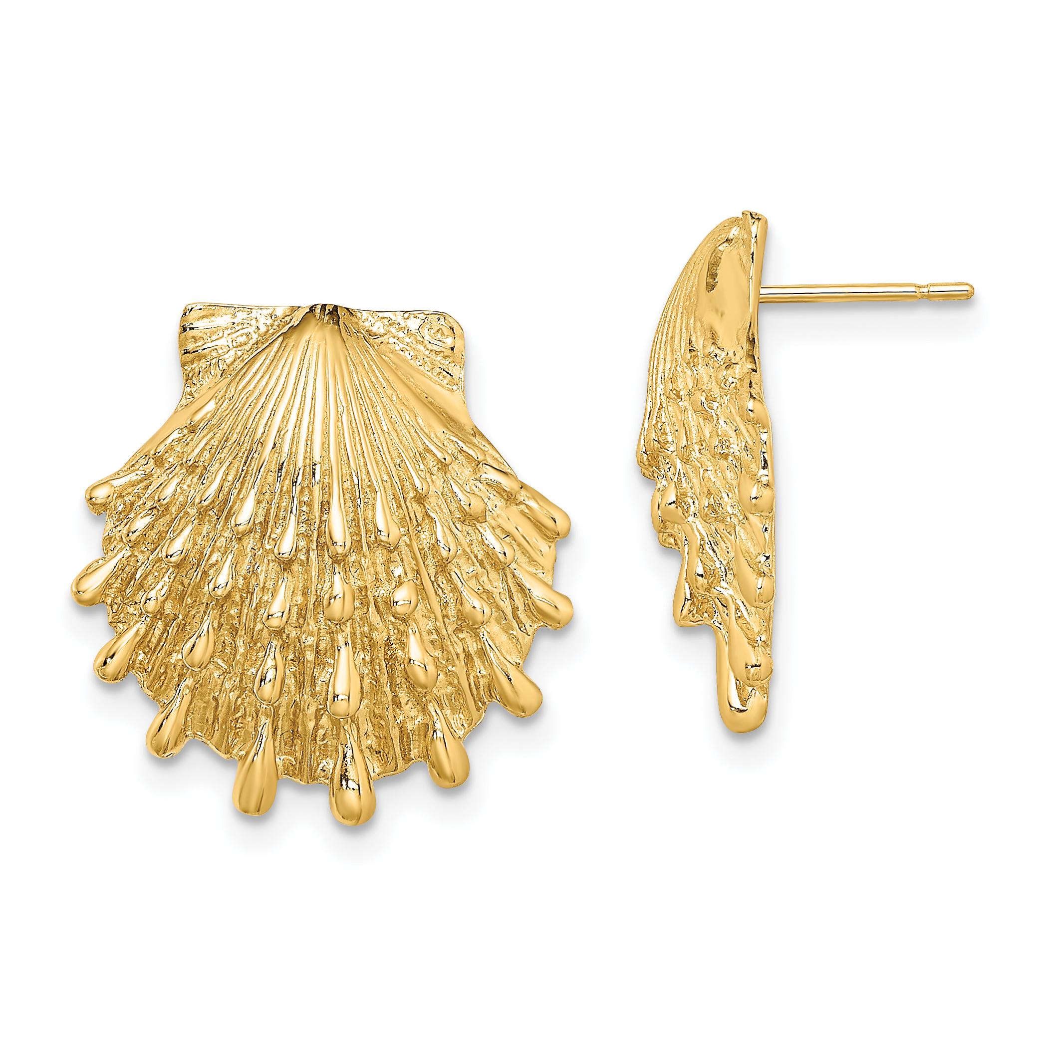 Lex /& Lu 14k Yellow Gold Sand Dollar Post Earrings