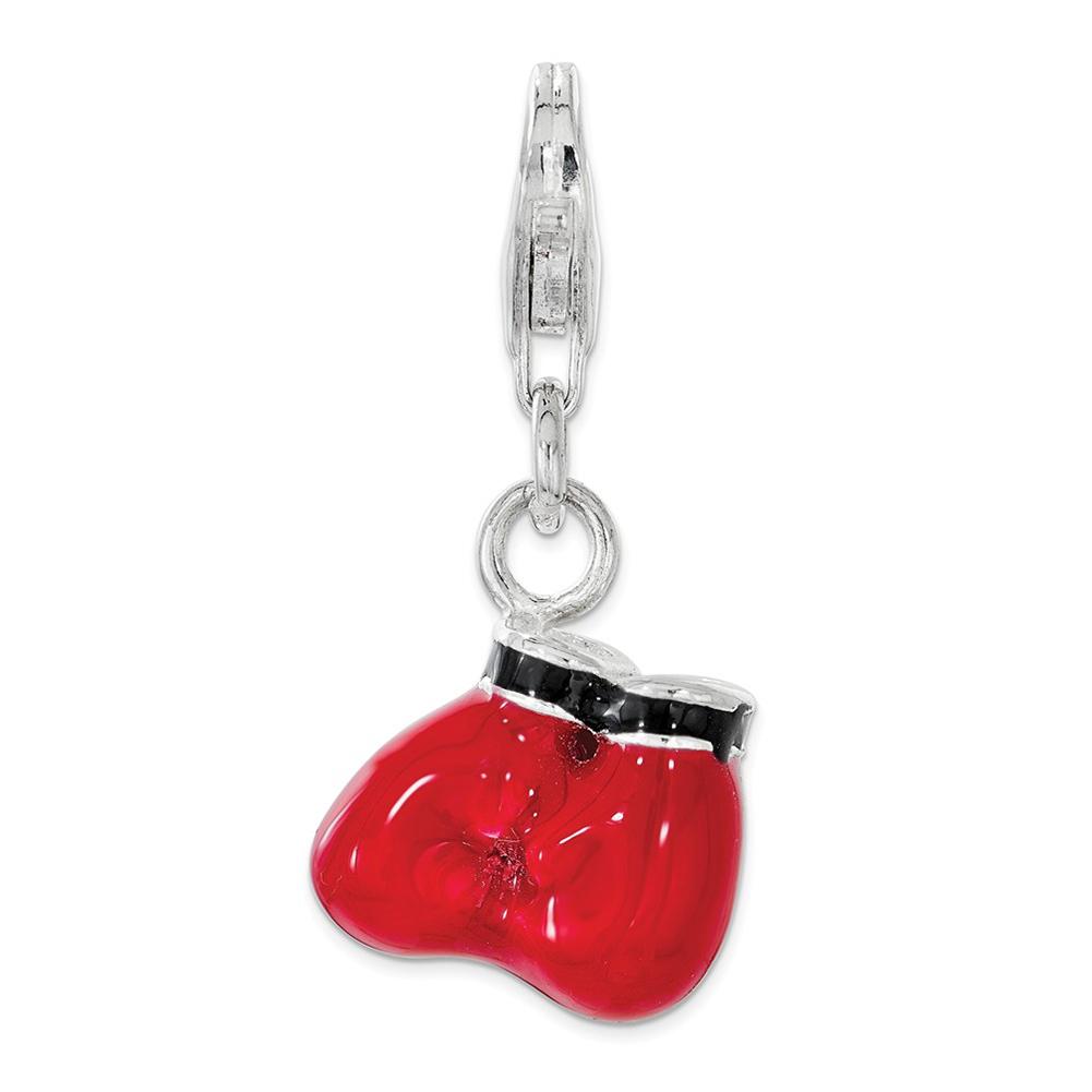 Sterling Silver 3-D Polished /& Enamel Baseball w//Lobster Clasp Charm