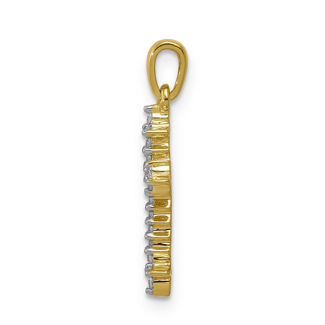 Lex /& Lu 14k Yellow Gold w//Rhodium Cherrub Cross Pendant