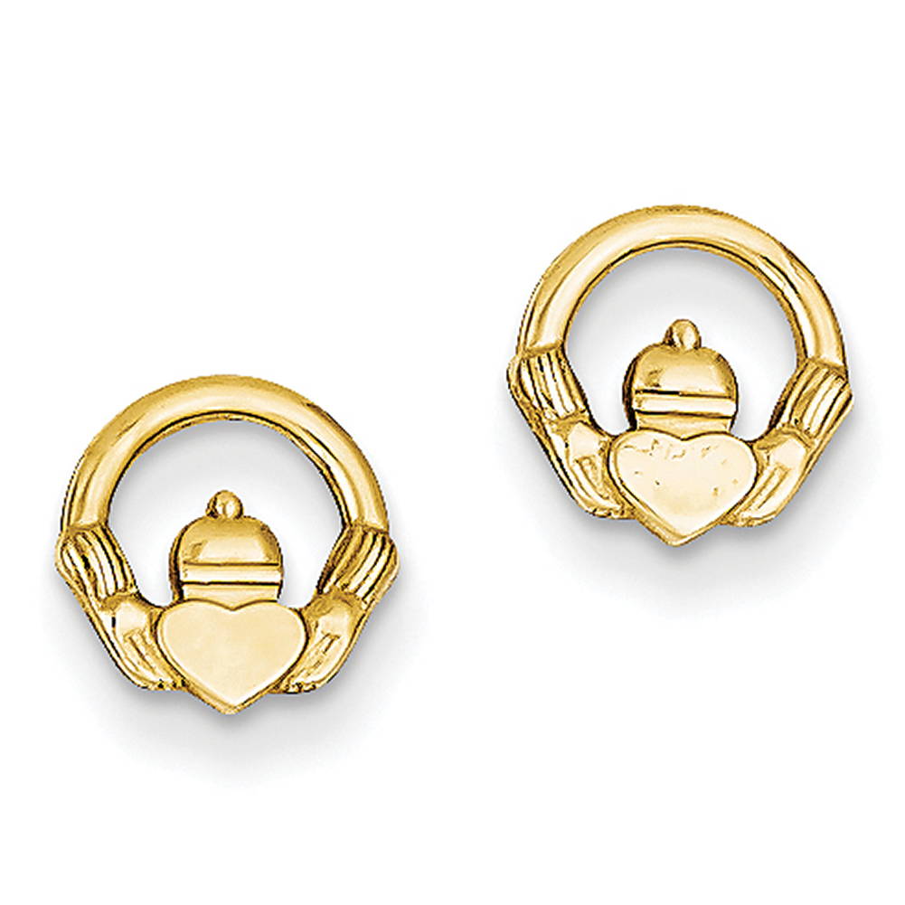 14k Yellow Gold Claddagh Post Earrings