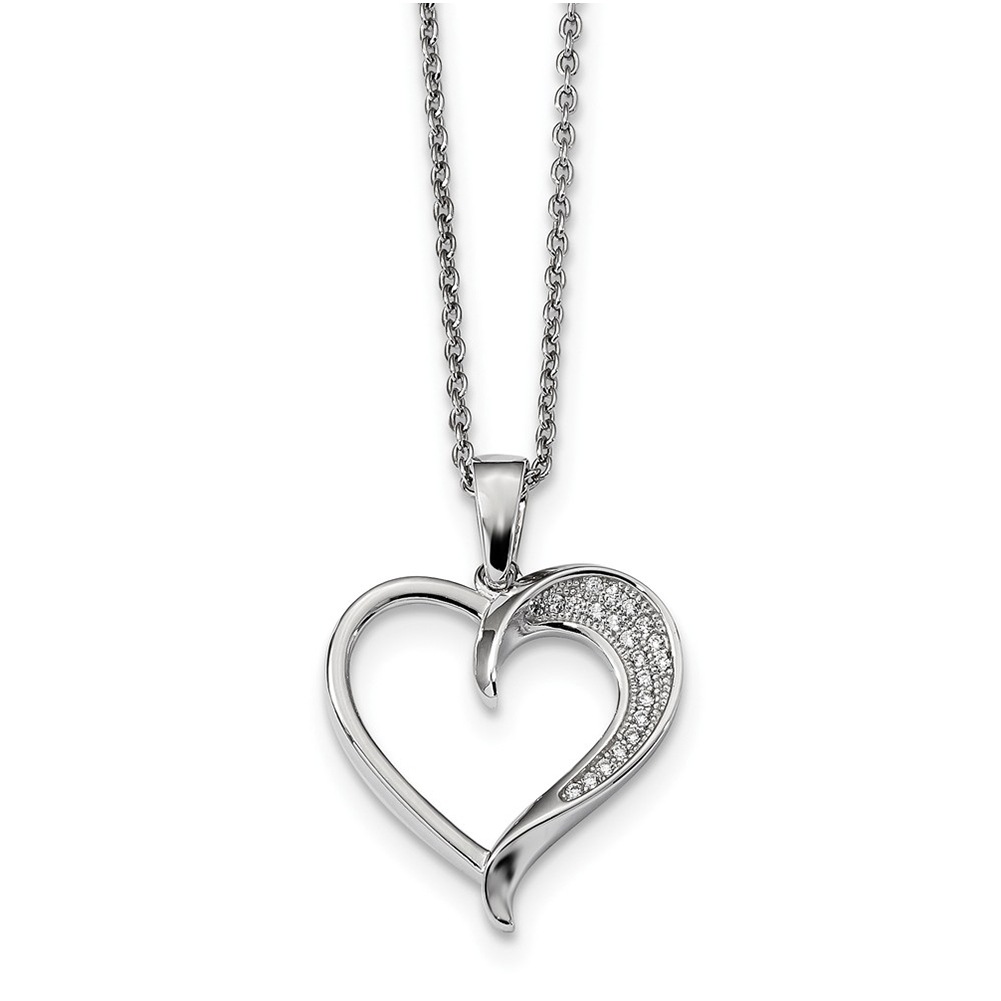 Sterling Silver /& Cz Brilliant Embers Polished Heart Necklace