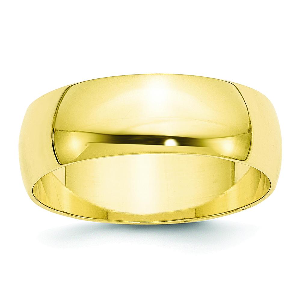 10K Yellow Gold 2mm Lightweight Half Round Band Ring