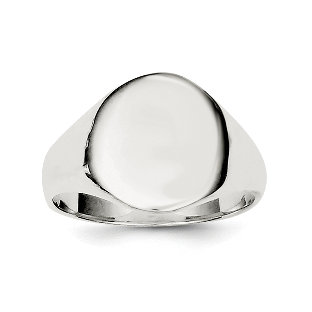 11 Sterling Silver 19x16mm Solid Back Signet Ring Size