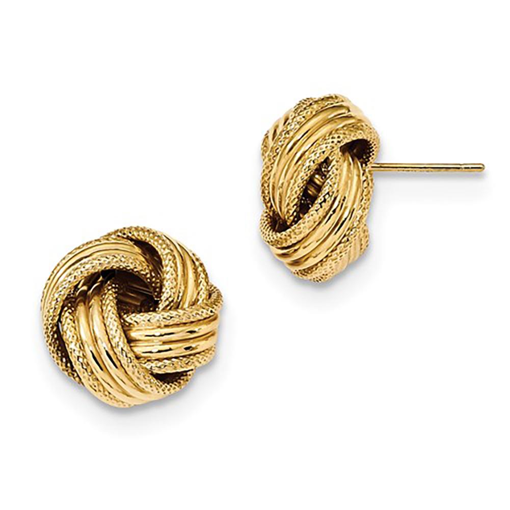 Lex /& Lu 14k Yellow Gold Polished Love Knot Dangle Hoops