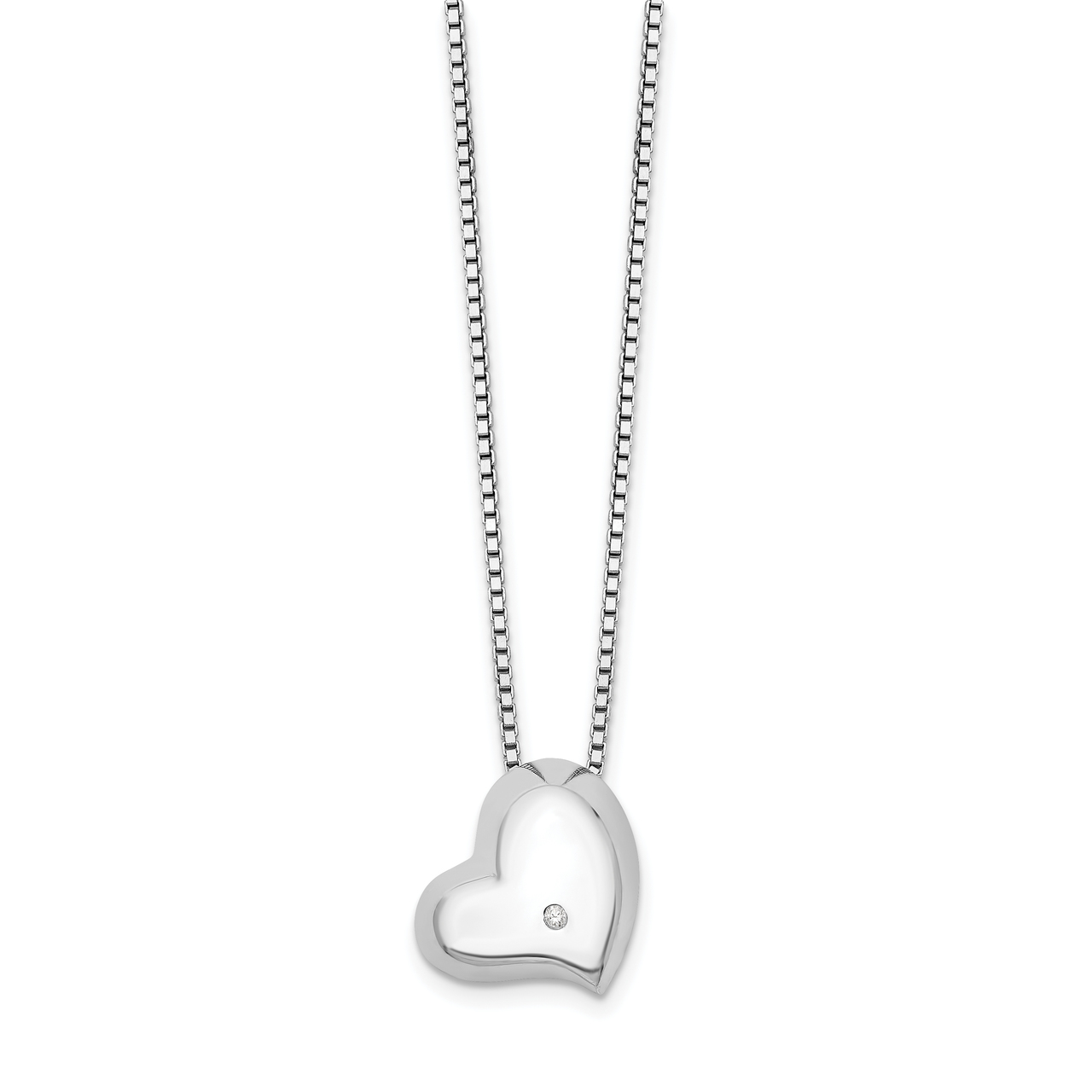 Lex /& Lu Sterling Silver w//Rhodium Diamond Love Pendant