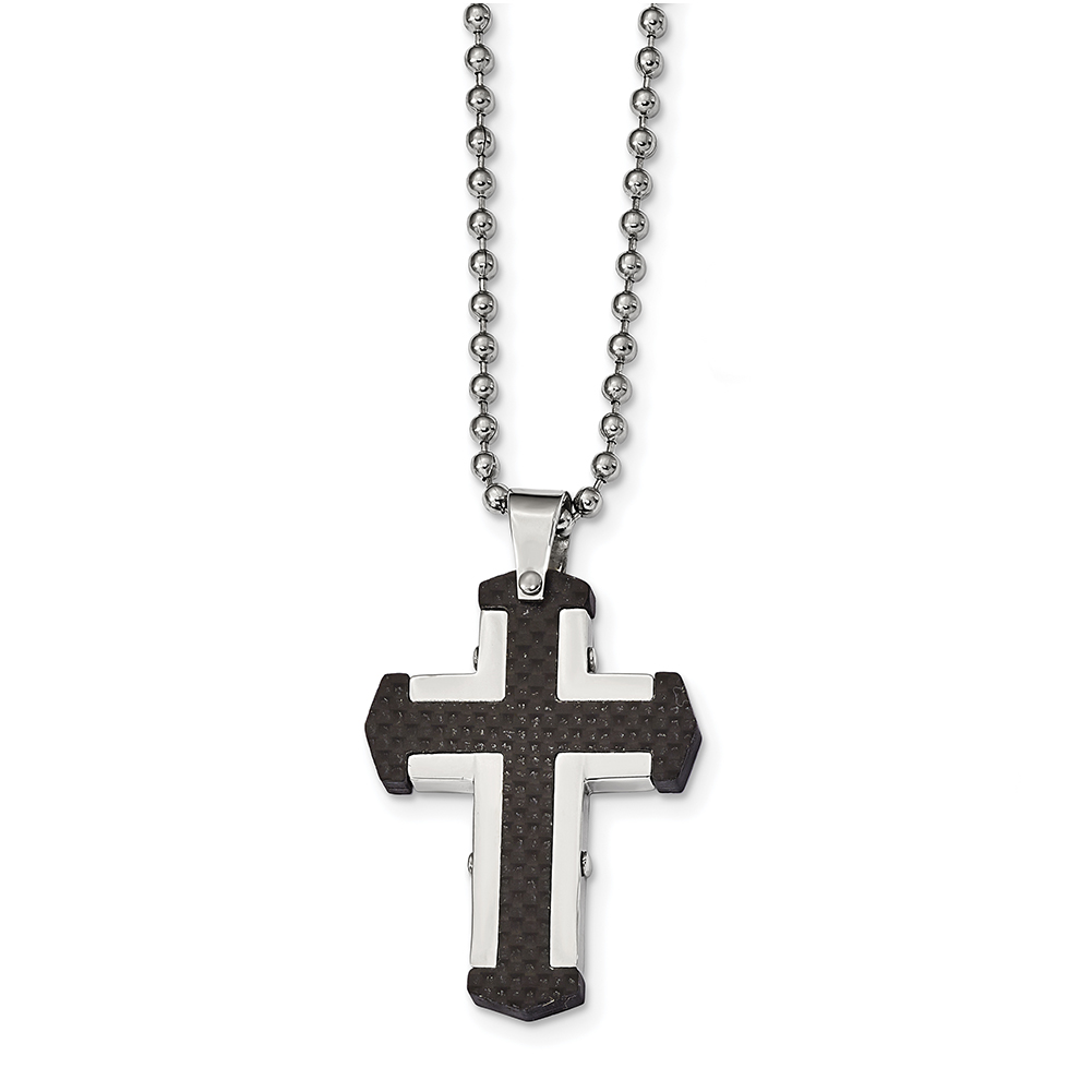 Stainless Steel Polished Black IP w//Blue Carbon Fiber Inlay Cross Necklace