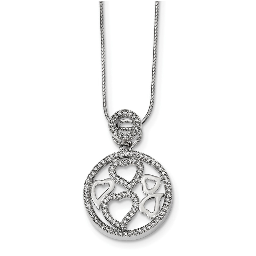 Cubic Zirconia 18 Length 925 Sterling Silver With Rhodium-Plated CZ Brilliant Embers Polished Heart Necklace